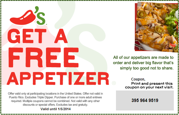 picture relating to Chili Printable Coupons called Take a Printable Coupon for a Free of charge Appetizer against Chilis