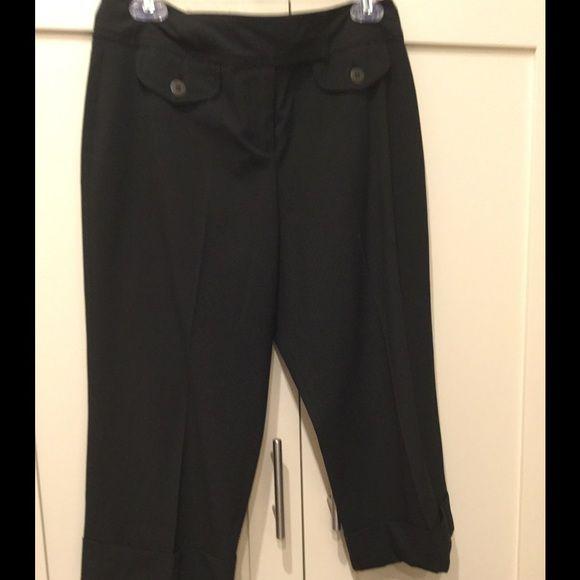 "Black pinstripe Bermuda slacks Black pinstripe Bermuda slacks. Great for casual Friday's. 11""Inseam 19""Length Cynthia Steffe Pants"