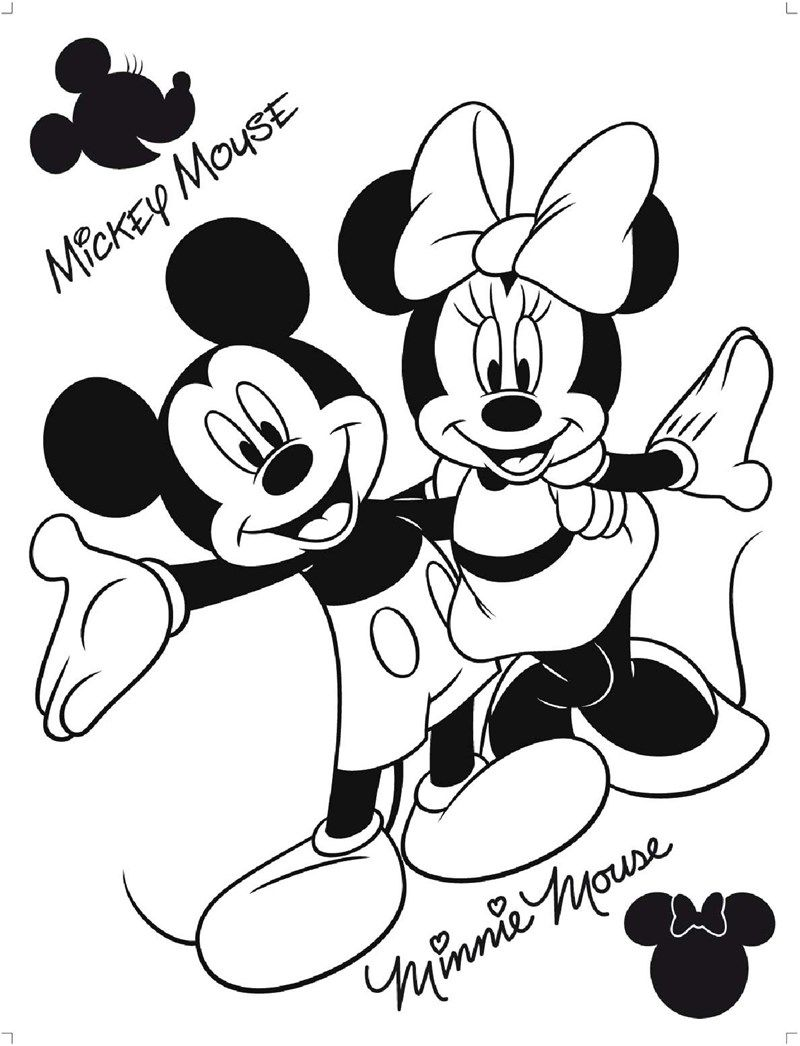 Minnie & Mickey  Mickey coloring pages, Mickey mouse coloring