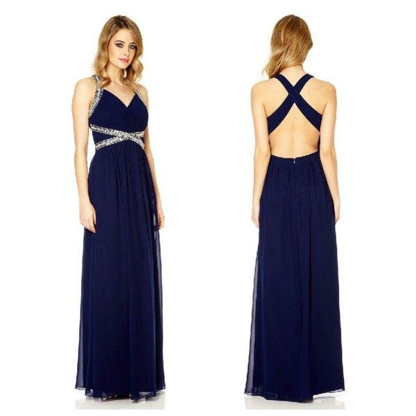 Donkerblauw gala jurk