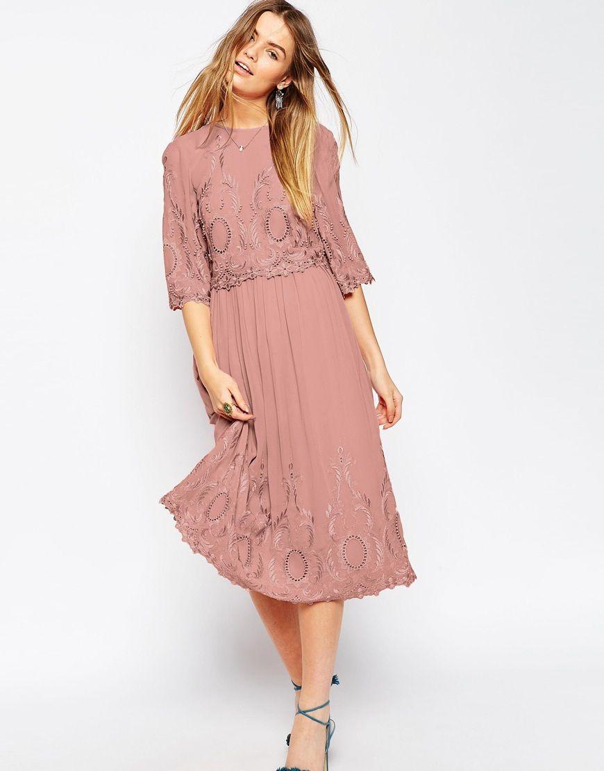 ASOS+PREMIUM+Midi+Embroidered+Dress | IRL dresses | Pinterest