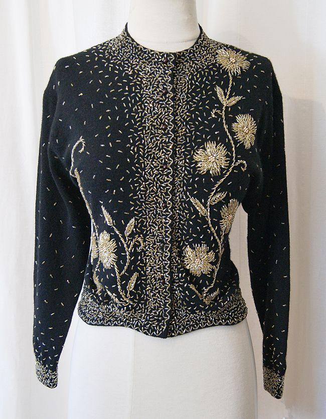 Vintage Beaded Sequined Black Lambswool Angora Cardigan Sweater