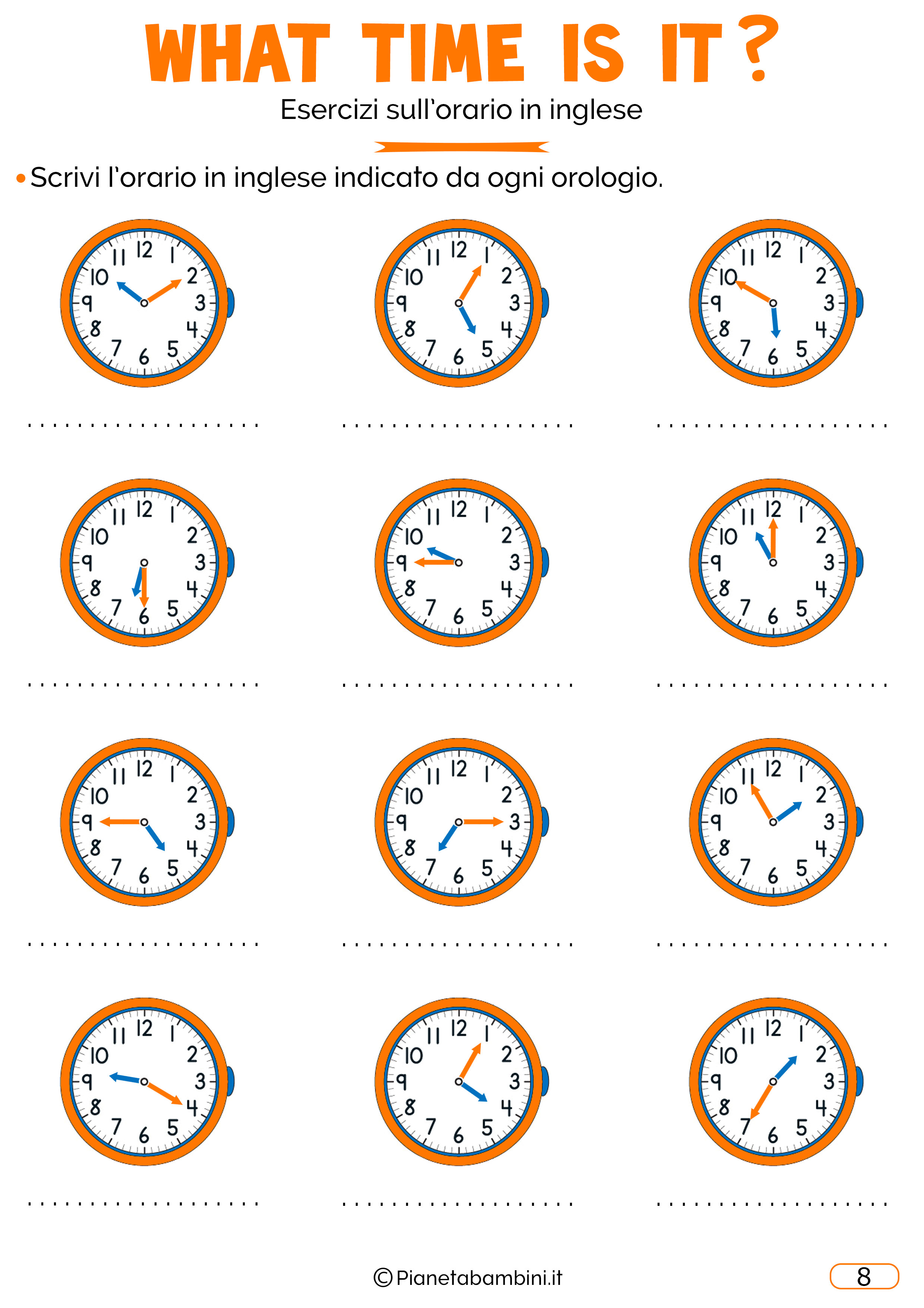 Lorario In Inglese Esercizi Per Bambini Da Stampare Inglese