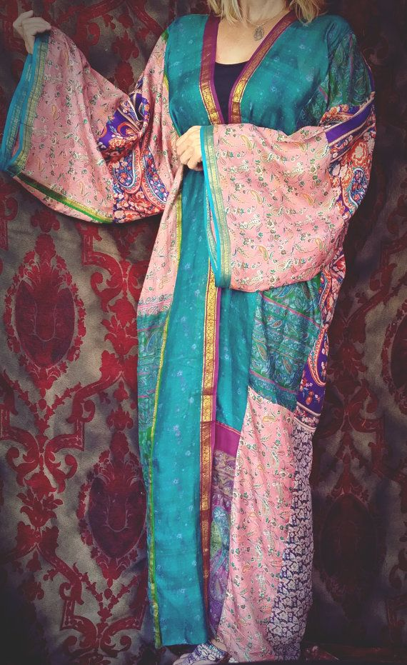 Boho Kimono Garden of Allah Coat Gypsy India Sheer by HippieWild