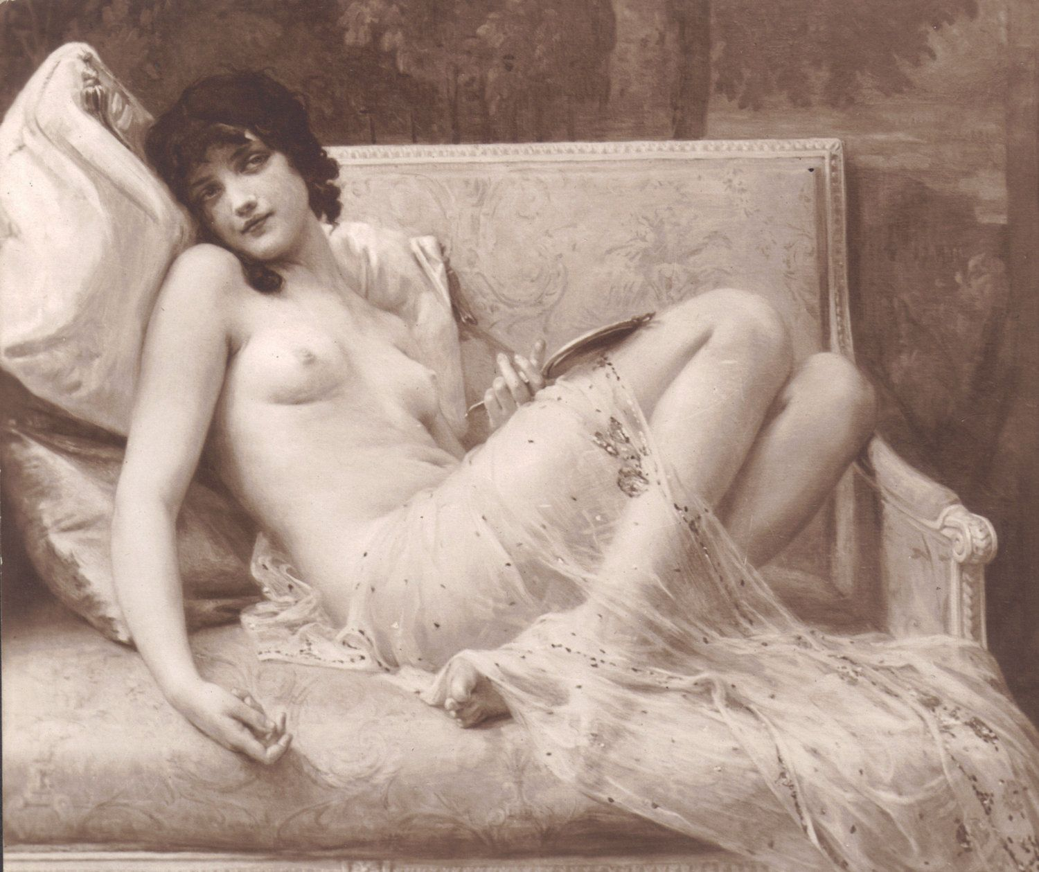 New to redpoulaine on Etsy: French Nude Indolence by G. Seignac Salon de Paris 1914. (18.00 USD)