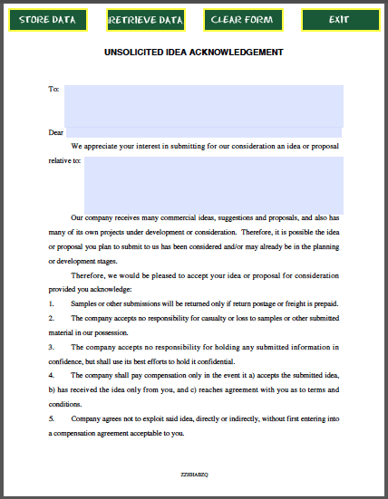 Unsolicited Idea Acknowledgement Agreement  Forms