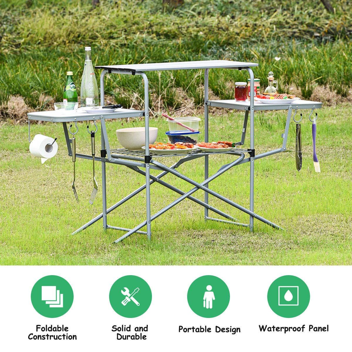 Giantex Aluminum Folding Grill Table With Hooks And Storage Lower Shelf Easy To Carry With Carrying Bag Great For Bbq Pi Bbq Table Camping Table Folding Bbq