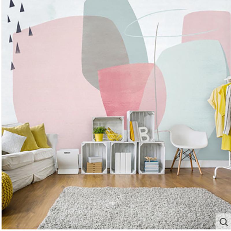 定制客厅卧室现代简约拼色北欧温馨墙纸电视背景墙无纺布壁纸 淘宝网 In 2020 Girls Bedroom Home Decor Decals Decor