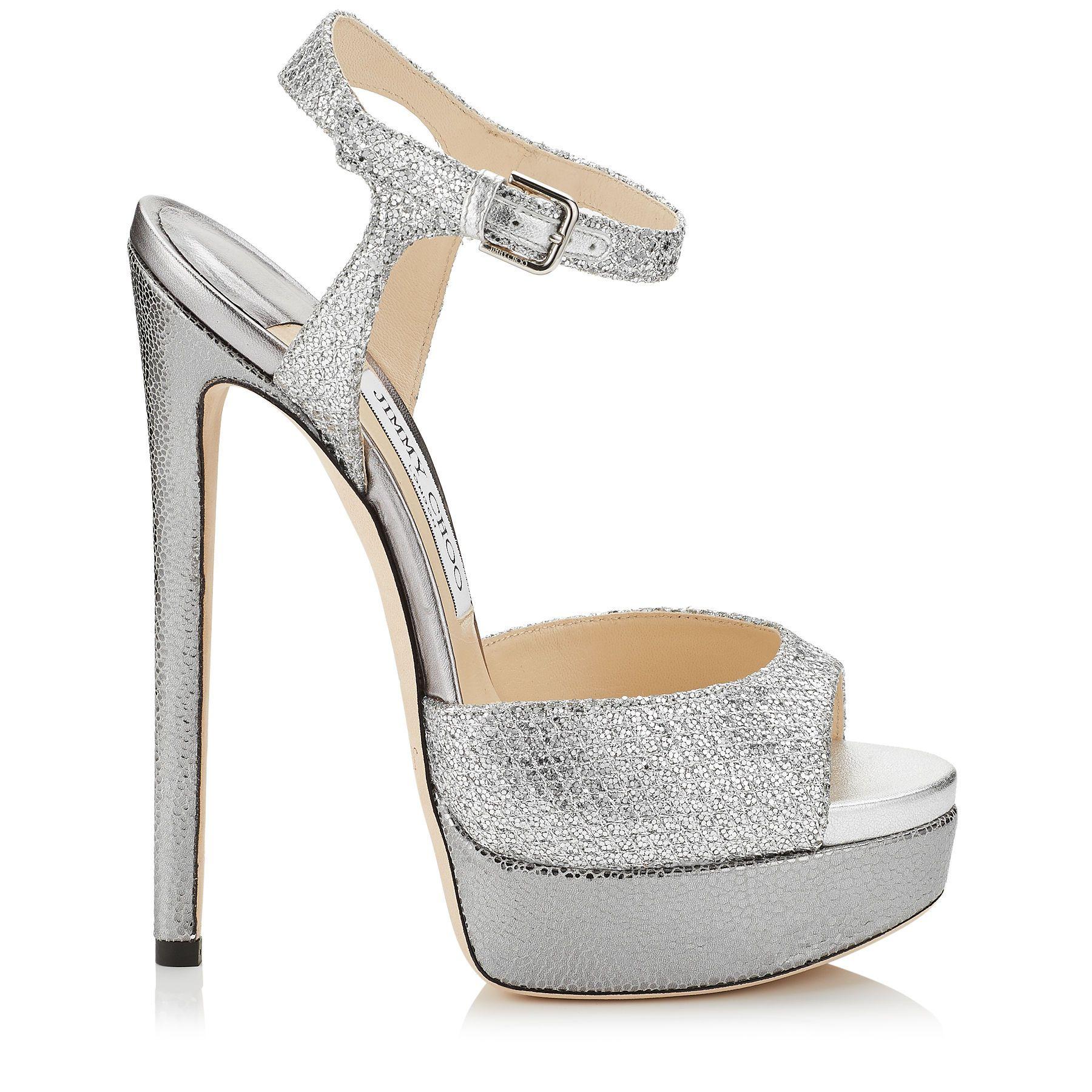 Jenna 150 Platform Sandals in Silver Glitter Fabric.