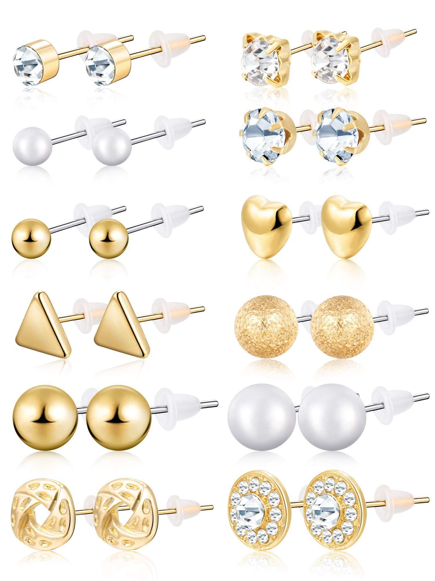 70c610b3c0a2b BBTO 24 Pairs Stud Earrings Crystal Pearl Earring Set Ear Stud ...
