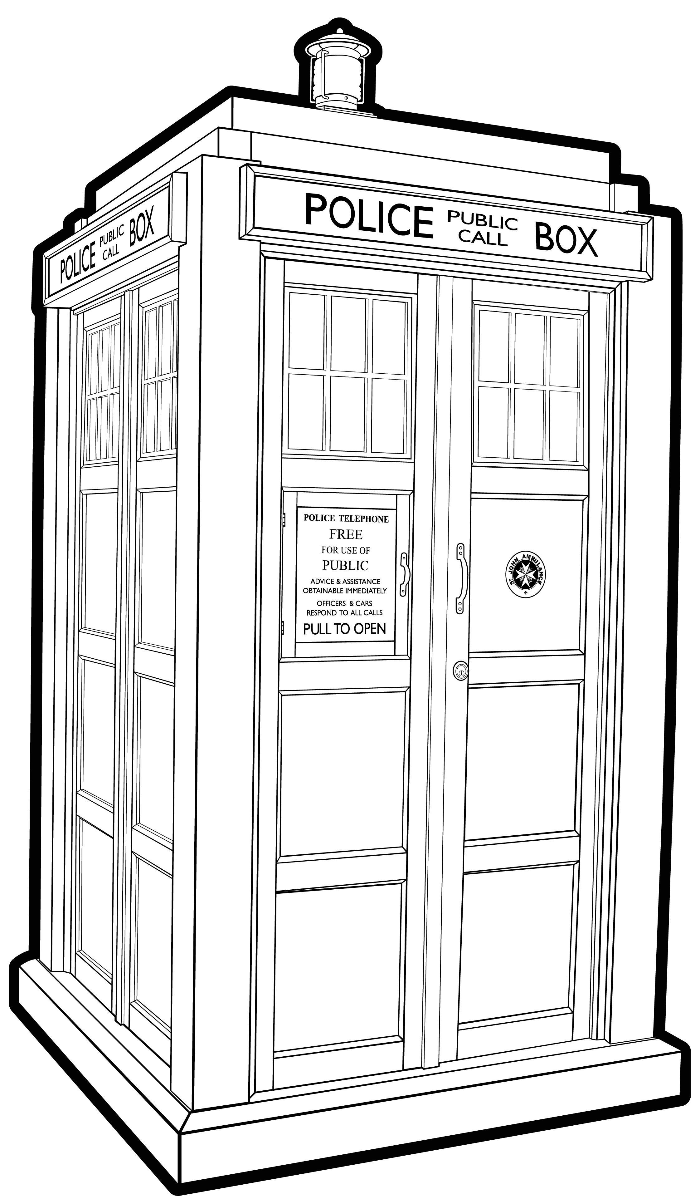 Tardis doctor who line art drawing coloring tardis ex b for Tardis coloring pages