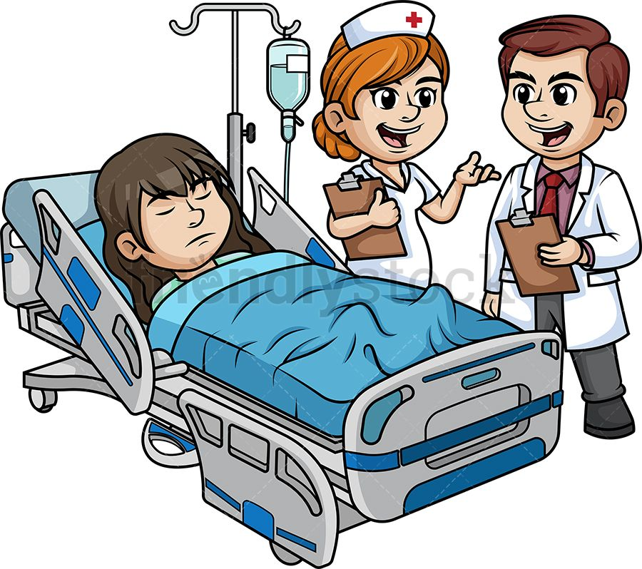 Hospital Staff With Female Patient Cartoon Clipart Vector