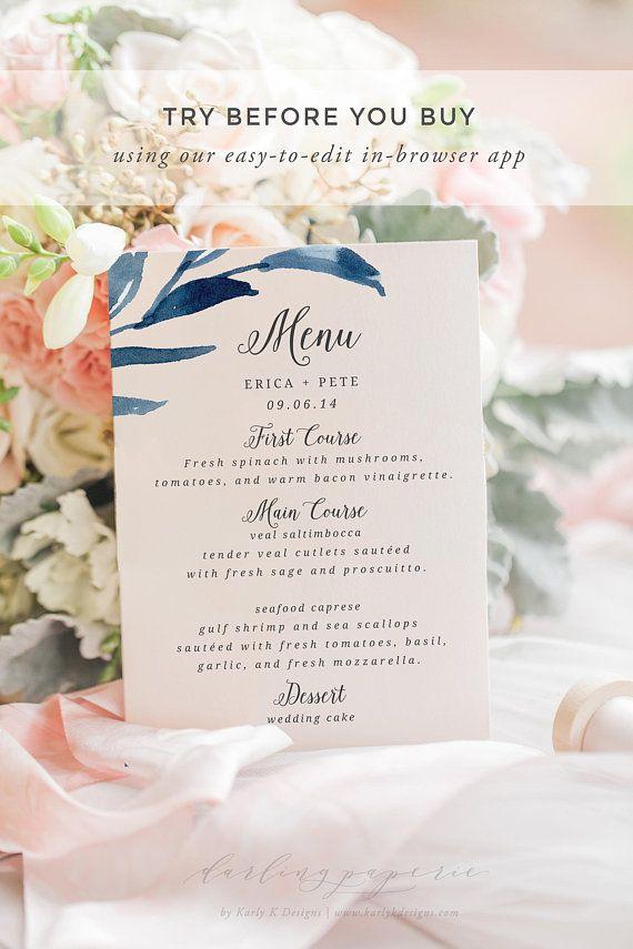 Navy Wedding Menu Template, Wedding Menu Printable, Wedding Menu - wedding menu template