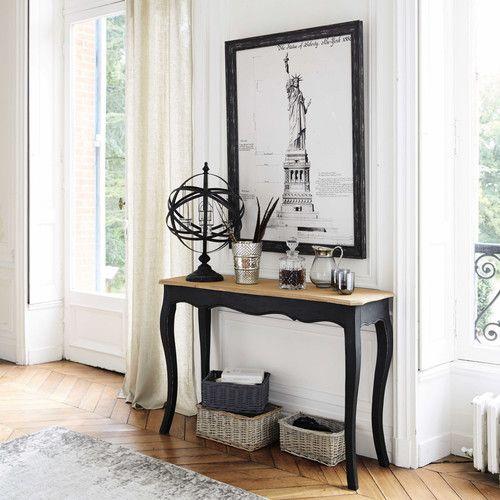 Table console en manguier massif noire L 116 cm