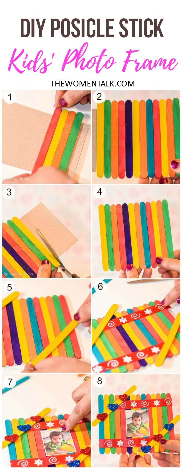 This DIY Popsicle Stick Valentine Kids' Photo Frame is very easy to make at  home