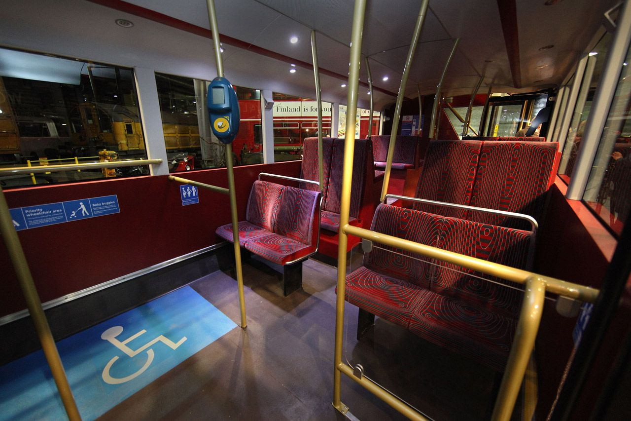 New London Double Decker Bus Transport Bus Interior Red Concept