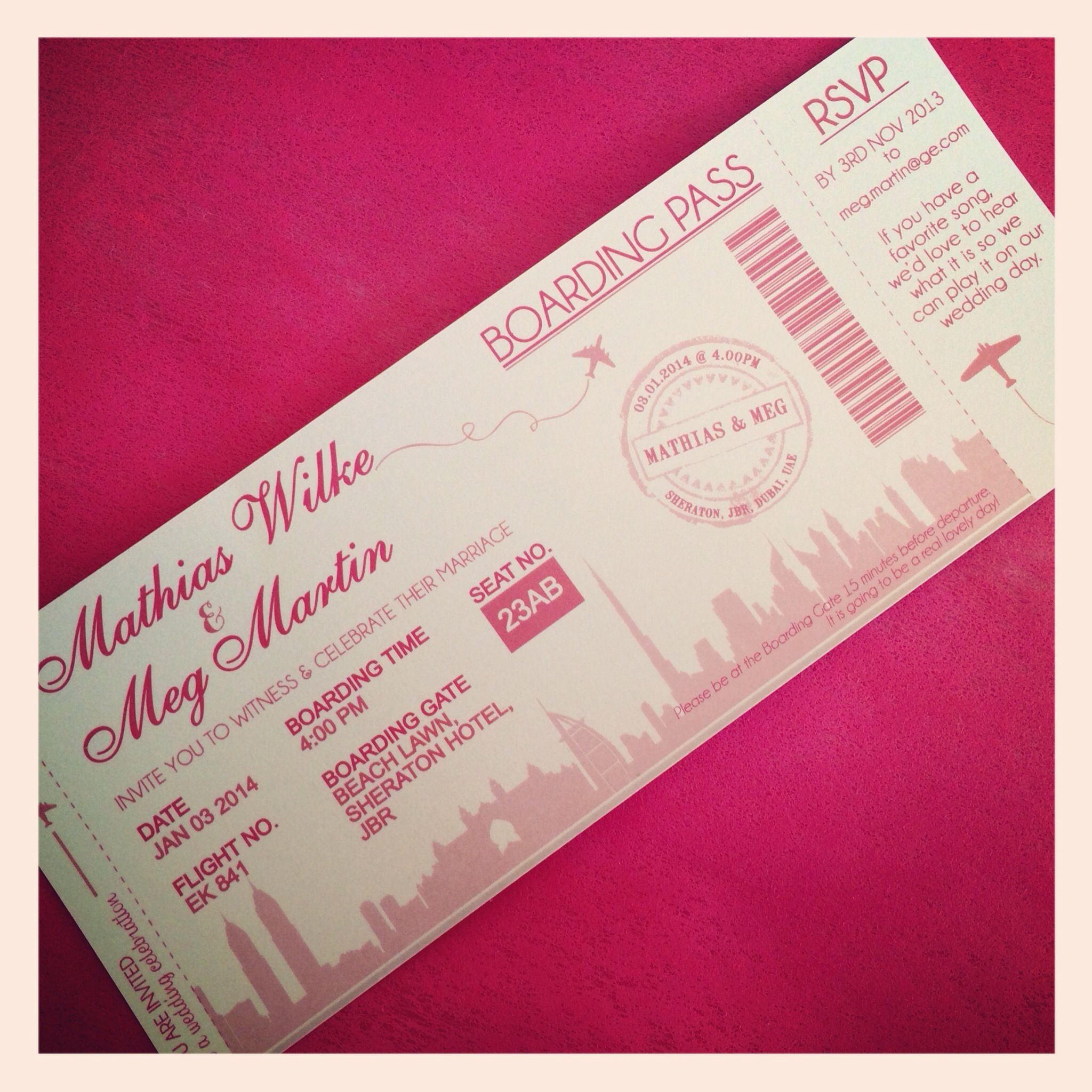 Boarding Pass Invite for going away party! @Onjalai Flake | Going ...