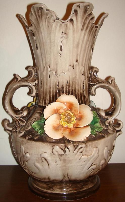 Capodimonte Porcelain Vintage Capodimonte Flower Vase Purple Pink