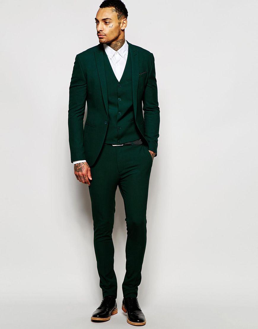 Image 1 of ASOS Super Skinny Suit in Dark Green