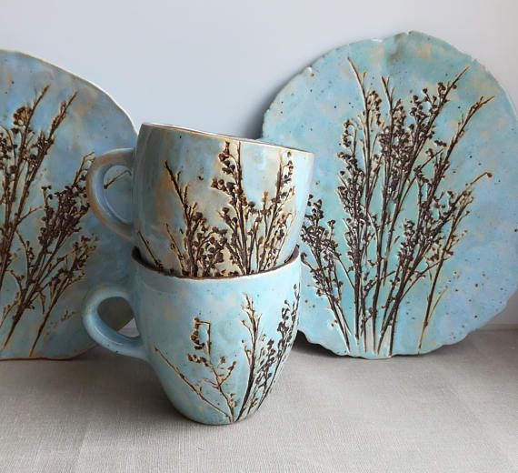 Tea pair motley grass.Ceramics And Pottery #teamugs