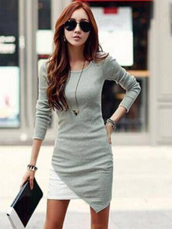 Women Fashion Irregular Hem Patchwork Long Sleeve Slim Dress at Banggood