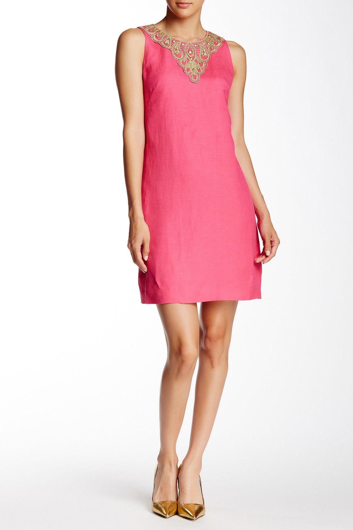 3d7344f4c65 Embellished Linen Blend Shift Dress