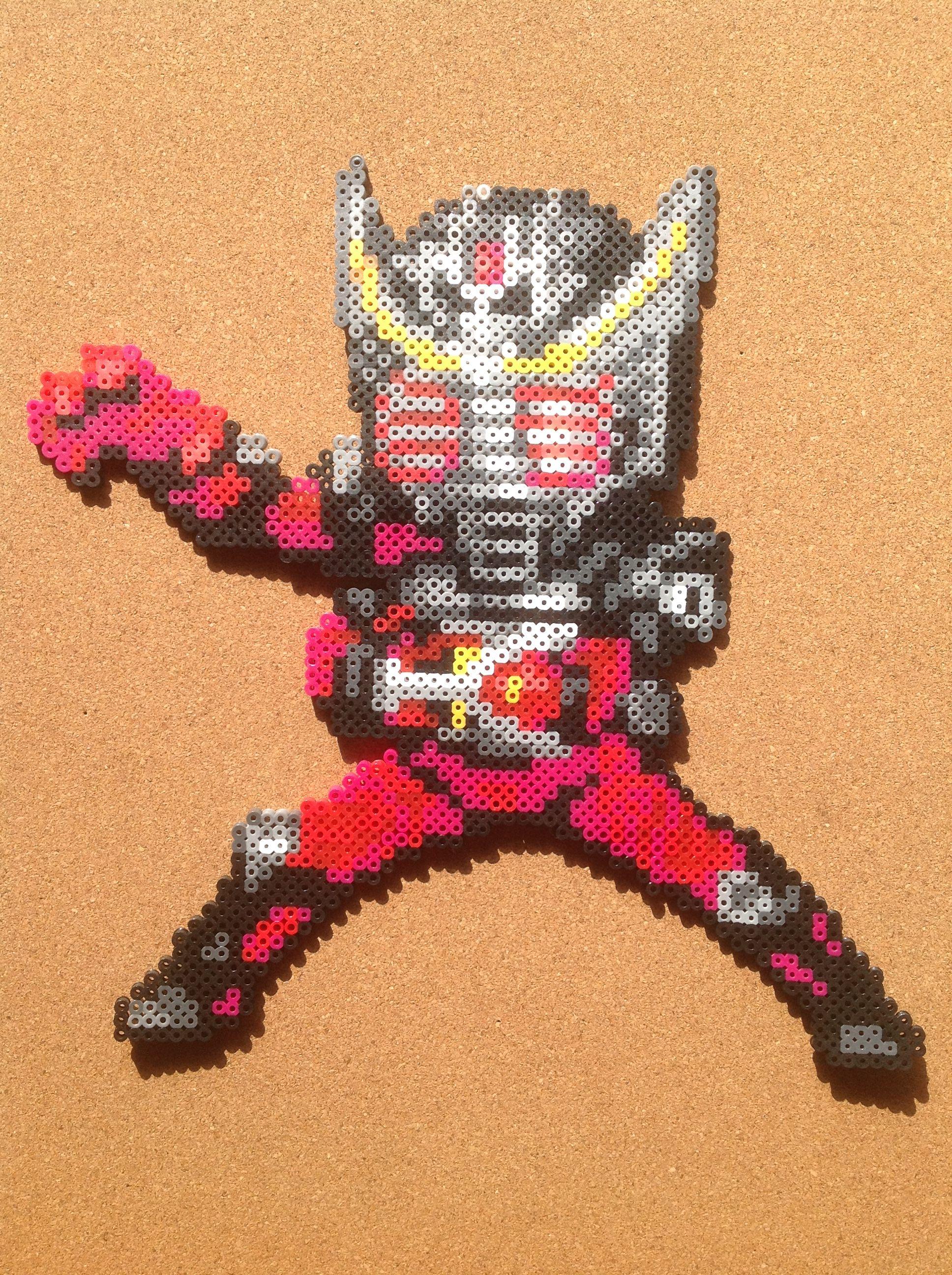 Kamen Rider Ryuki perler beads by tsubasa.yamashita fuse beads hama beads nabbi beads nano beads perler beads アイロンビーズ 拼豆 拼拼豆豆
