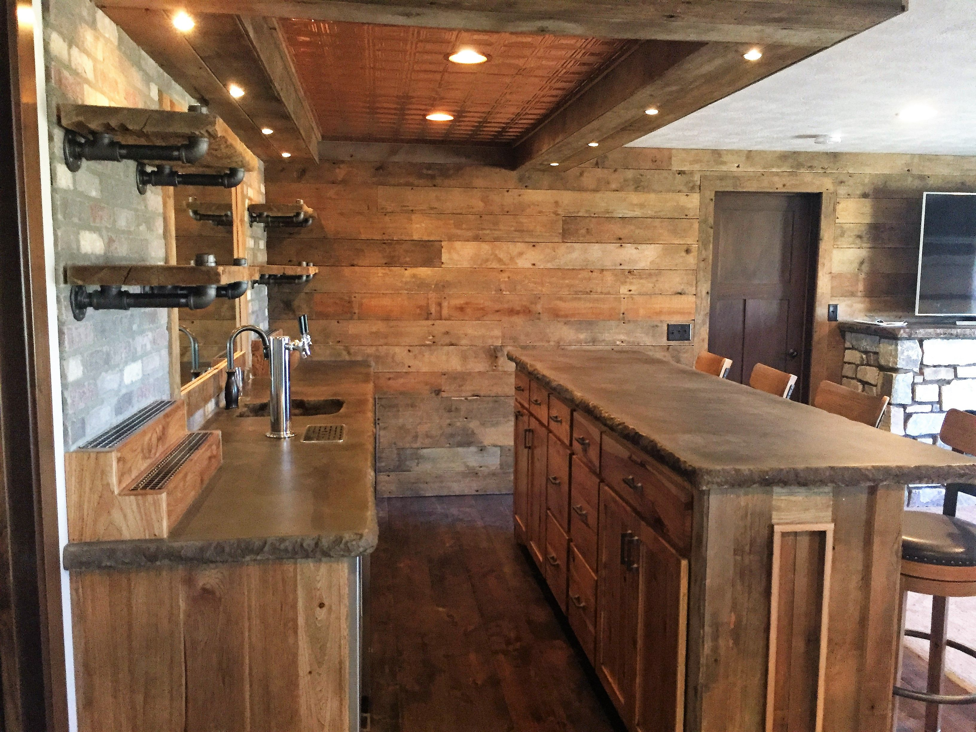 Rustic Basement Bar, Concrete Bar Top, Copper Ceiling Tiles, Brick