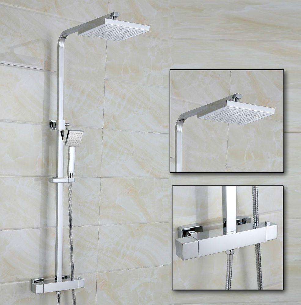 Lois square dual head thermostatic shower mixer chrome bathroom ...
