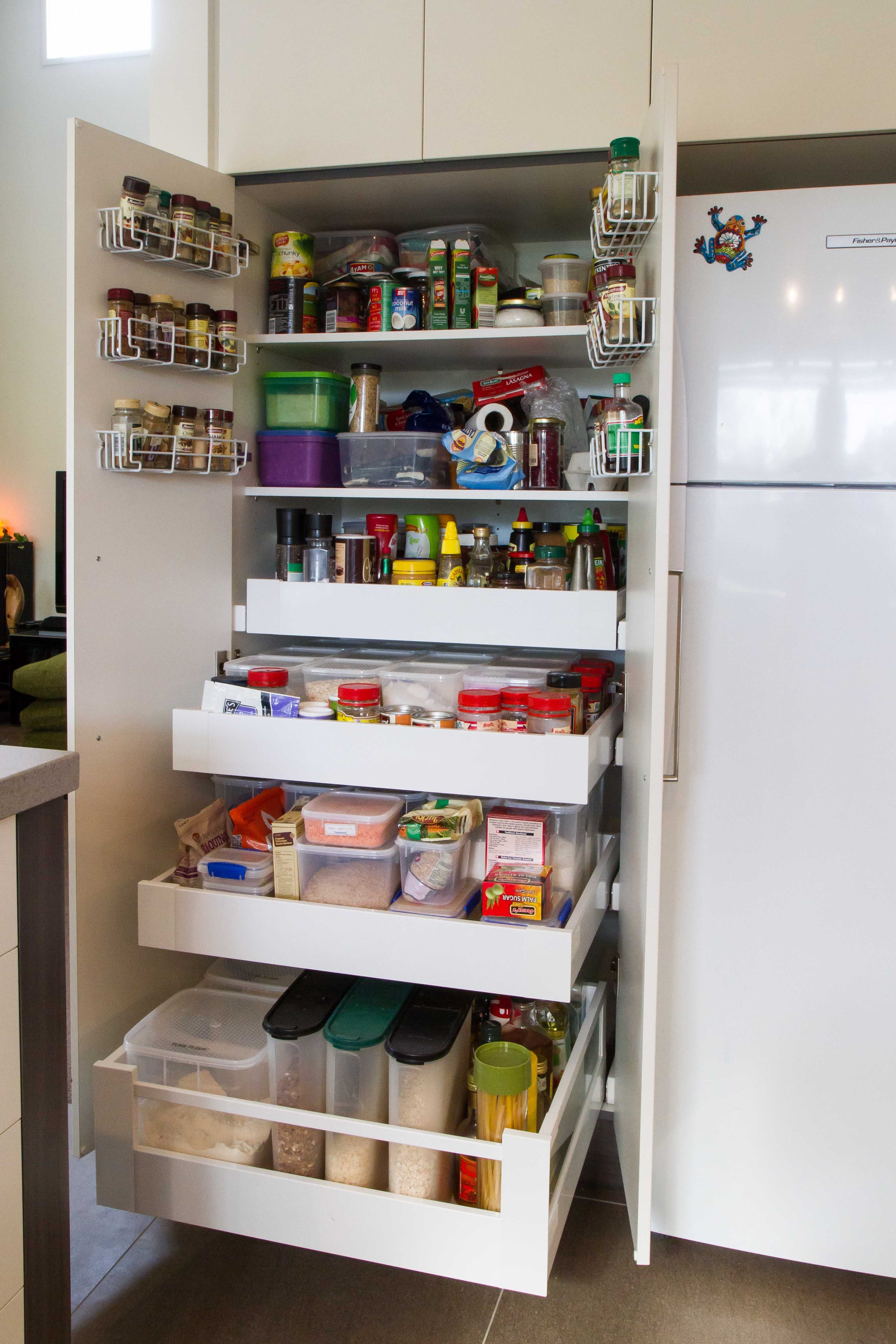 Food Storage Cabinet With Doors Briliant Pantry With Drawers And On Door Racking For Extra Storage