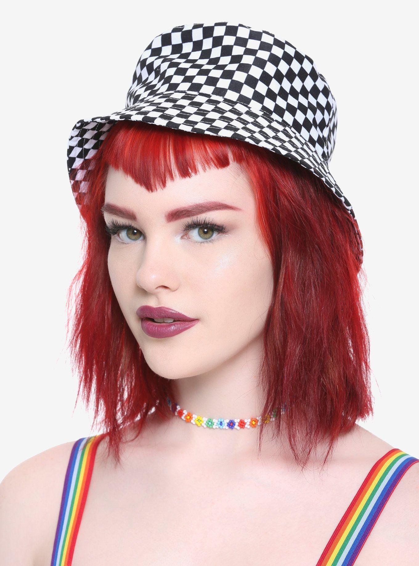 Black white checkered bucket hat black snapback hats