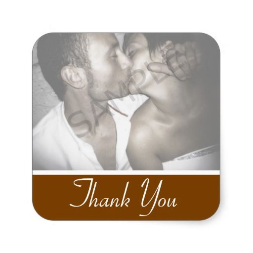 Chocolate Brown Photo Thank You Favor Sticker