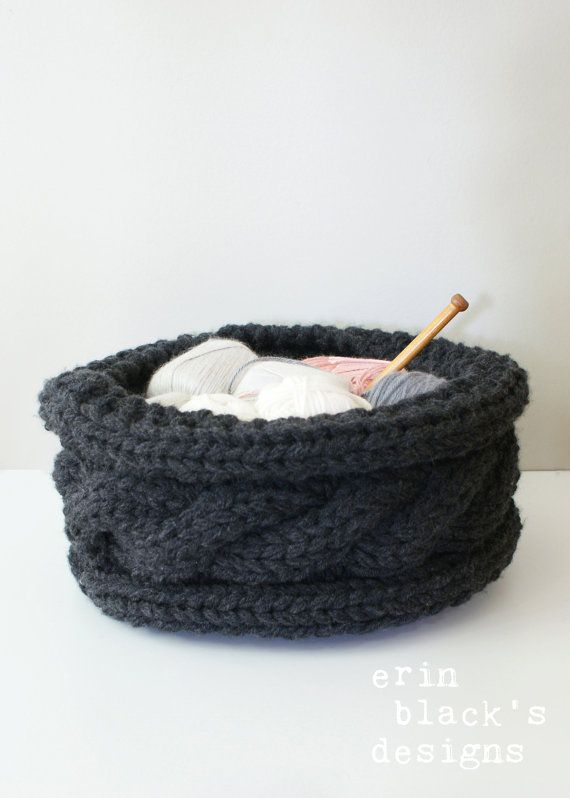 Diy Knitting Pattern Twisted Cable Chunky Knit Basket Approx 13