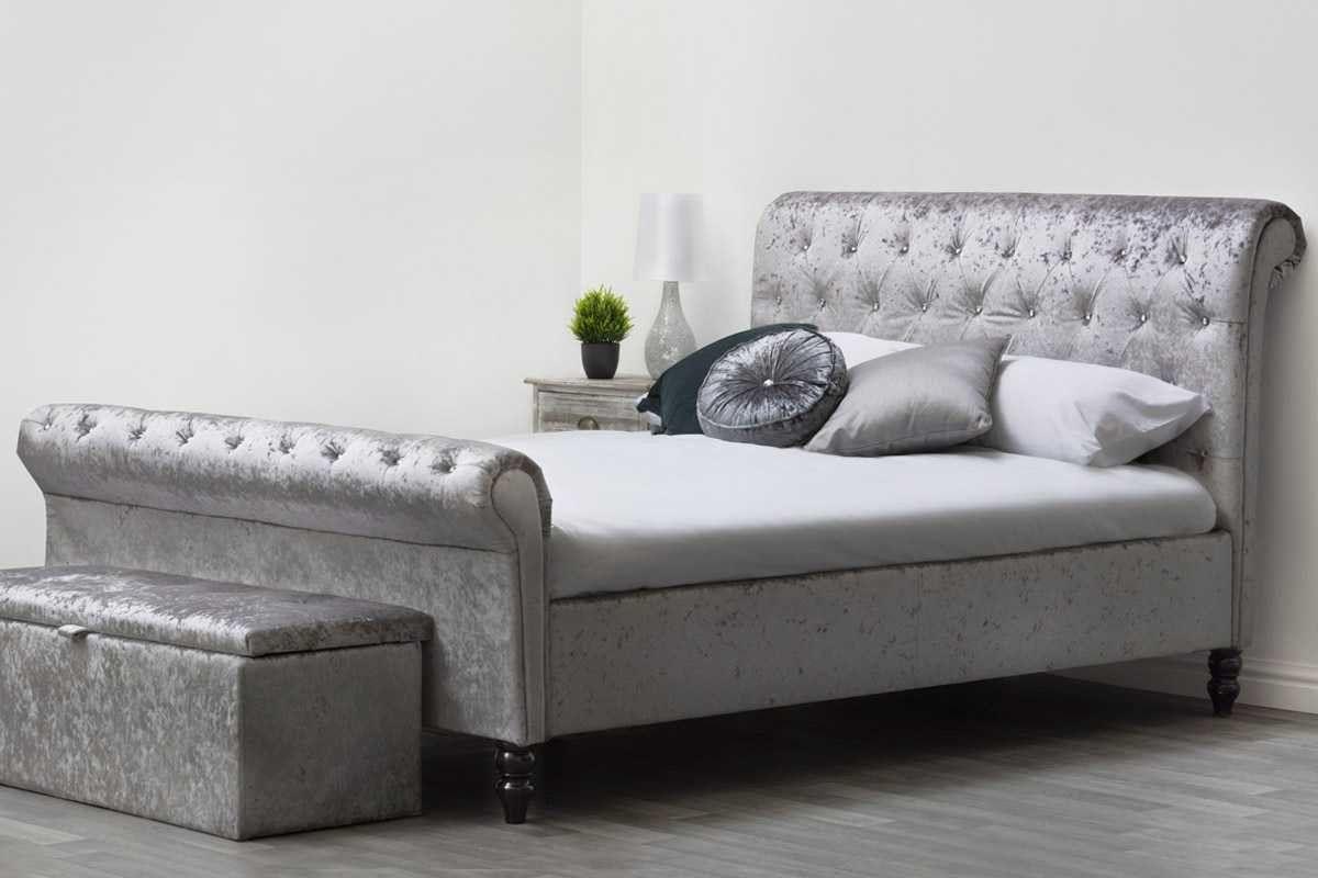 St James Silver Crushed Velvet Fabric Upholstered Sleigh ...
