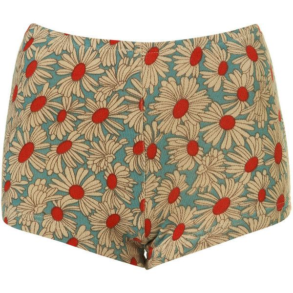 Blue Daisy Print Knicker Shorts found on Polyvore featuring polyvore, women's fashion, clothing, shorts, bottoms, pants, short, women, elastic waistband shorts and blue shorts