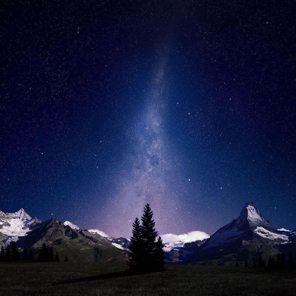 Night Sky Lights Over Snowy Mountains Ipad Wallpapers Night Sky Wallpaper Beautiful Night Sky Nature Desktop Wallpaper
