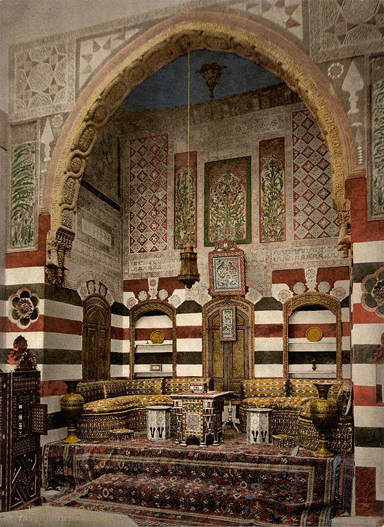 Interior of a house, Damascus, Holy Land, (i.e. Syria). Photomechanical print, 1890s