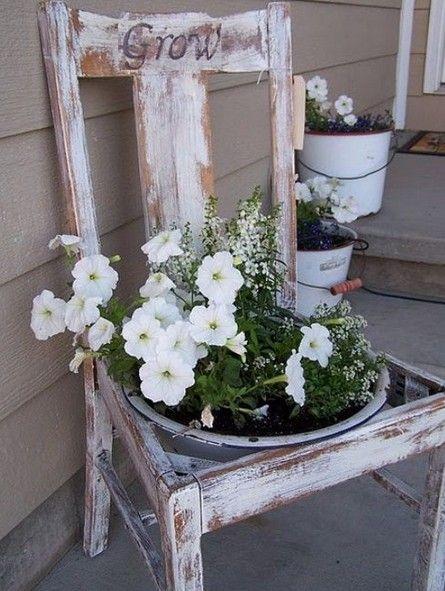 Handmade Flower Bed Design Garden Chair Planter Garden Diy Porch