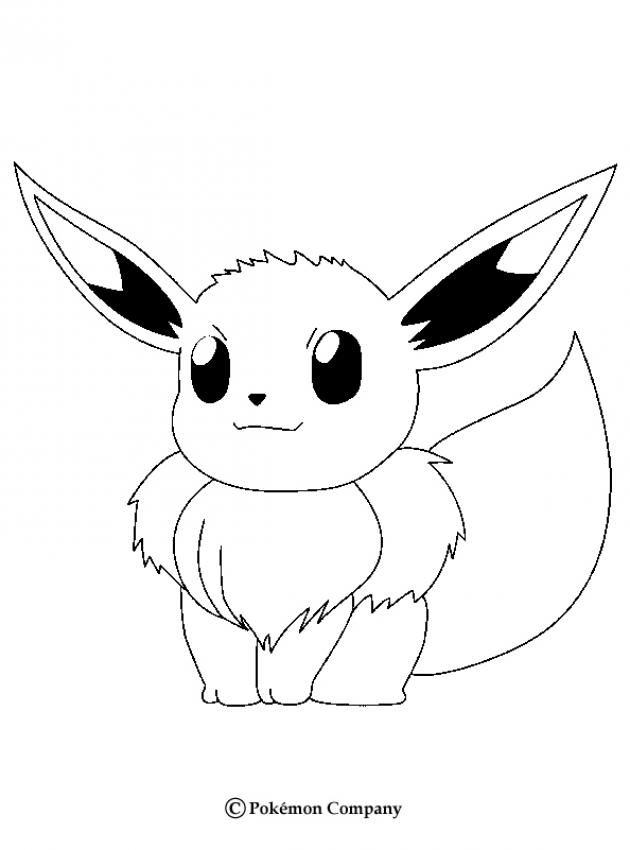 Eevee Pokemon coloring page. More Pokemon coloring sheets