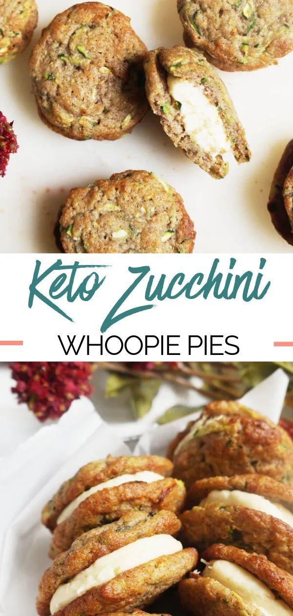 Indulge your sweet tooth with these Keto Zucchini Bread Whoopie Pies! The zucchini bread layers are so soft and perfectly compliment the tangy cream cheese frosting inside. They are keto, low-carb, grain-free, and gluten-free!  #ketodessert  #zucchinibread  #lowcarbdessert  #glutenfreedessert #frostings