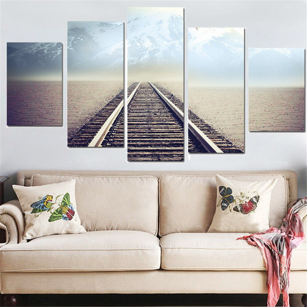 Modern Painting For Living Room 5 Panel Modern Canvas Print Seascape Painting Wall Art Picture