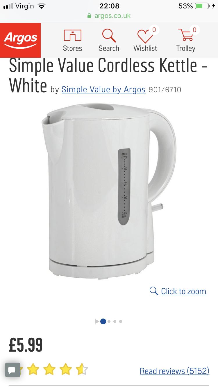 DIY Kettles Simple Value White Cordless