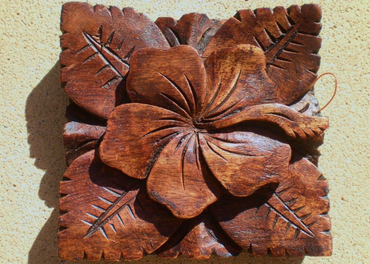 Bali hibiscus hard wood carved wall hanging balinese carving cm