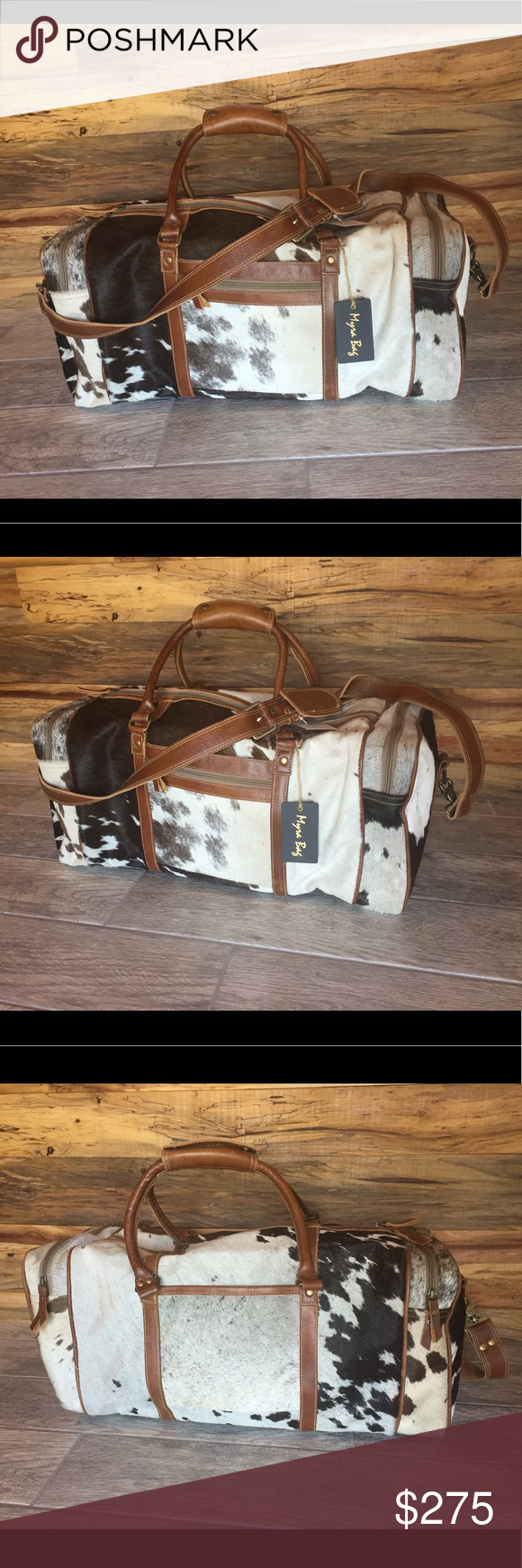 Cowhide Duffle Bag Brand new with tags Myra Cowhide duffel bag. White and  black with brown leather accents. 24 inches wide 9.5 inches deep 10 inches  high ... 41a5f0b384228