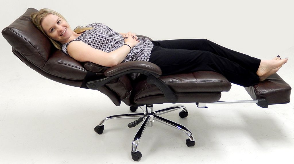 Pillow Top Leather Office Recliner W/Footrest   All In One Office Chair  That Converts From A Desk Chair To A Napping Chair In Seconds!