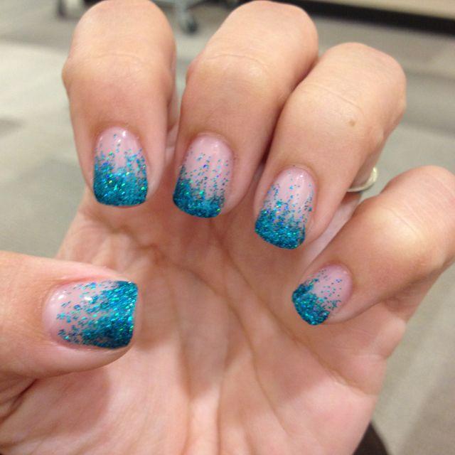 teal glitter fade gel nails