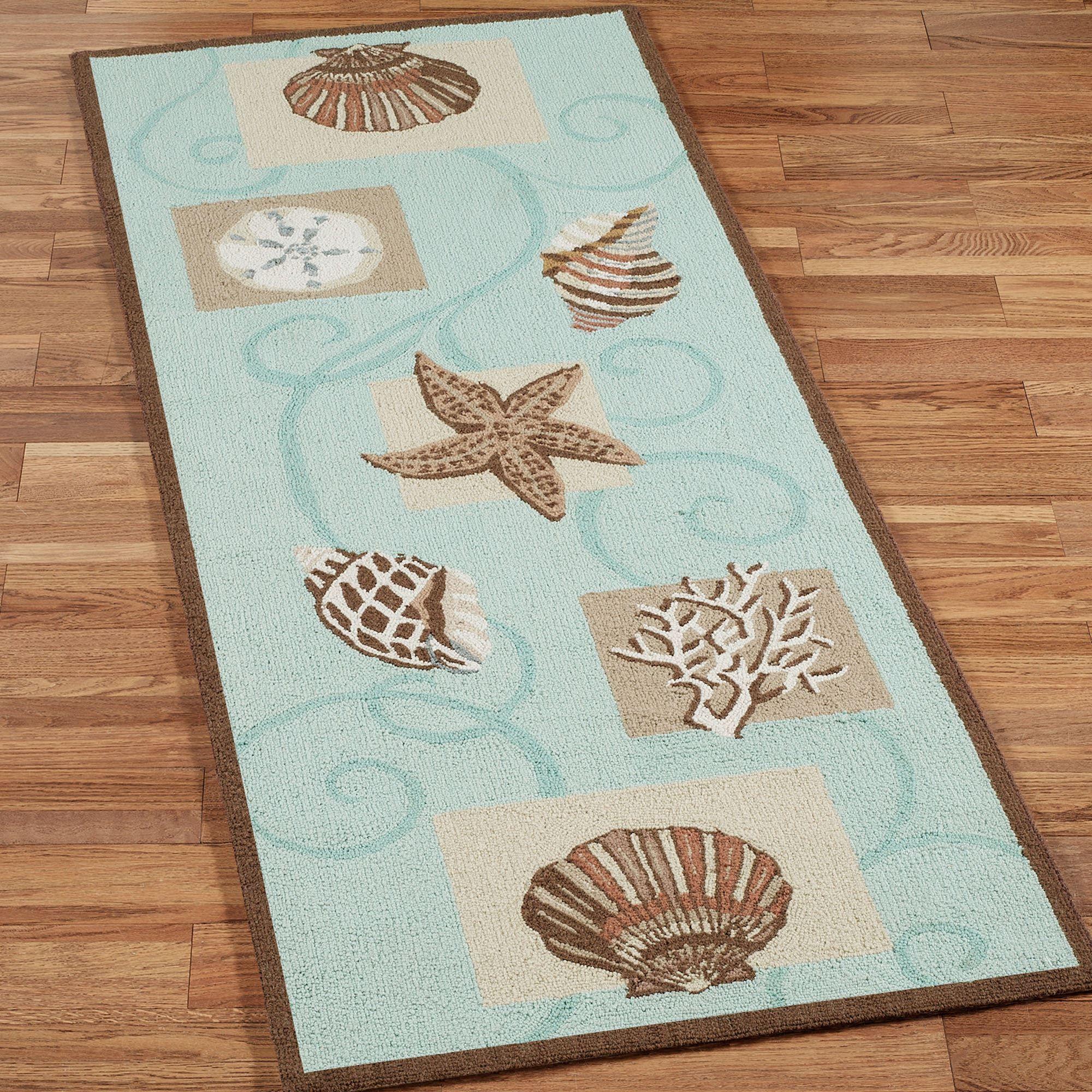 sea shell hooked wool area rugs | aqua rug, rug runner, rugs