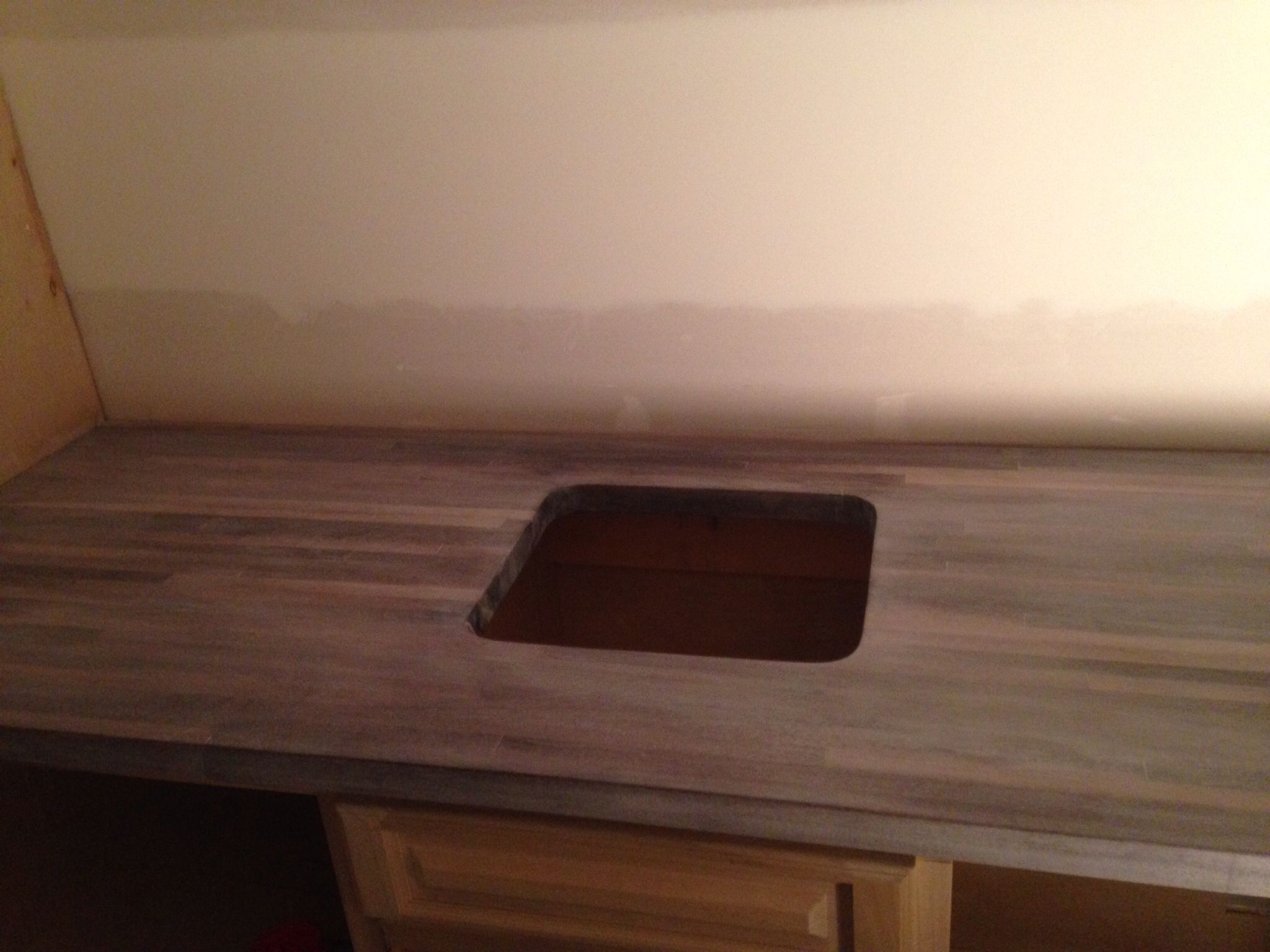 Hickory Butcher Block Countertop Stained With Driftwood Finish And