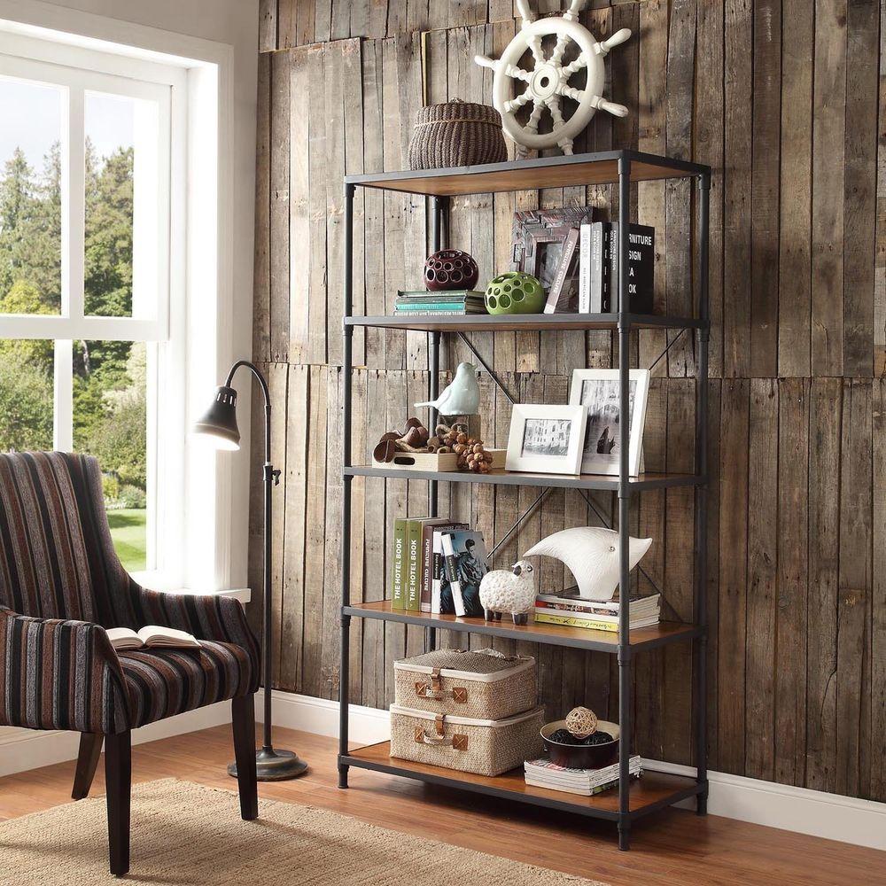 INSPIRE Q Harrison Industrial Rustic Pipe Frame Shelf Media Tower