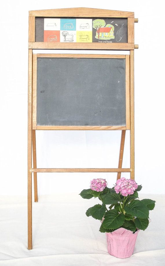 1940 s child s chalkboard easel folding desk vintage toy natl